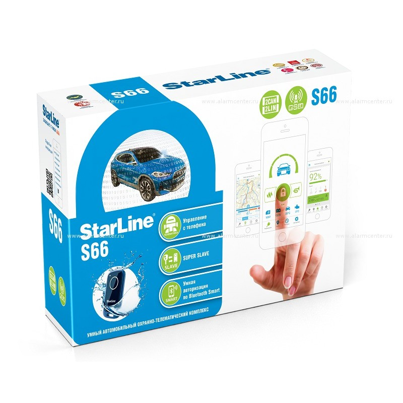 Автосигнализация StarLine S66 BT 2CAN+2LIN GSM оригинал